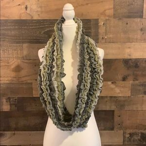 Studio S ruched striped infinity circle scarf